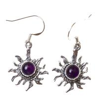 Amethyst Star Earrings in Sterling Silver