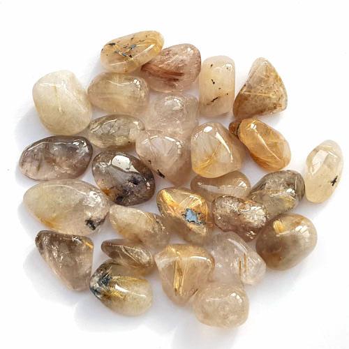 Rutilated Quartz Stones : Rutilated quartz tumble stones cm over