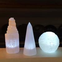 Selenite USB Obelisk Style Lamp 15cm