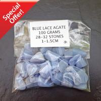 100 GRAMS - Small Blue Lace Agate Tumble Stones