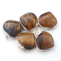 Tigers Eye Heart Pendant Surround Mount