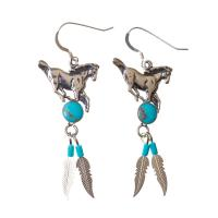 Stallion Earrings in Silver and Turquoise