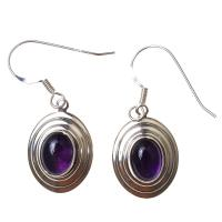 Amethyst Oval Earrings in Sterling Silver D2
