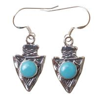 Arrowhead Earrings in Silver and Turquoise
