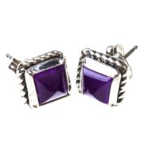 Amethyst Square Earrings in Sterling Silver