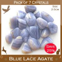 Pack of 7 Agate Blue Lace Tumble Stones