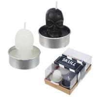 Black & White Skull T Lite Candles pack of 6