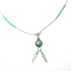 Turquoise & Twin Feather Silver Necklace