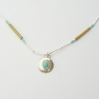 Large Turquoise Shield Silver Necklace