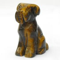 Hand Carved Dog in Tigers Eye