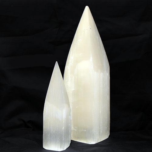 Very Large Selenite Crystal Points 26 28cm Polished