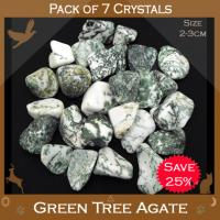 Pack of 7 Agate Green Tree Tumble Stones