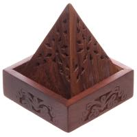 Wood Pyramid Incense Cone Box with Flower Fretwork
