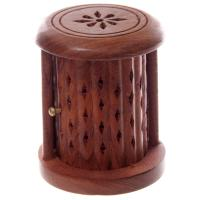 Barrel Incense Cone Box with Flower Fretwork