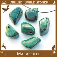 Side Drilled Malachite Tumbled Stones