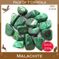Pack of 7 Malachite Tumble Stone Crystals