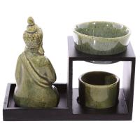 Tiered Buddha Oil Burner - Green