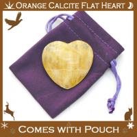 Orange Calcite Flat Heart