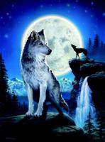 Wolf Once in a Blue Moon Greetings Card