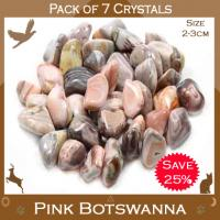 Pack of 7 Pink Botswana Agate Tumble Stone Crystals