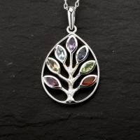 Gemstone Oval Chakra Tree Pendant