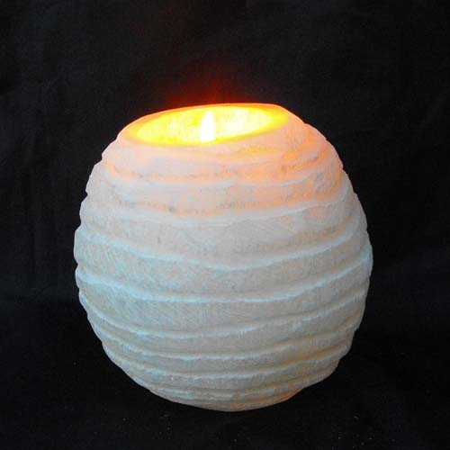 Selenite Beehive Style T-Lite Holder - Candle / T Lite Holders, & Salt Lamps - Healing Crystals ...