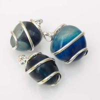 Blue Agate Tumble Stone Coil Pendant