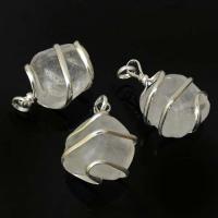 Clear Quartz Tumble Stone Coil Pendant