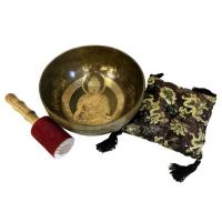 Brass Golden Buddha Singing Bowl Set