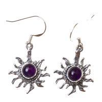 Amethyst Star Earrings in Sterling Silver