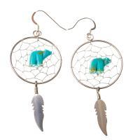 Turquoise Bear Dreamcatcher Earrings
