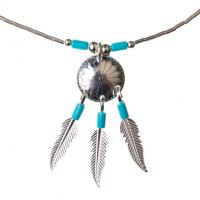Native American Indian Shield with Feathers Necklace