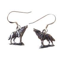 Sterling Silver Wolf Earrings