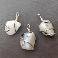 White Moonstone Tumble Stone Coil Pendant