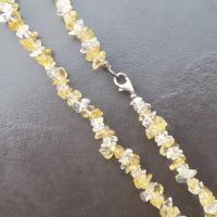 Citrine and Quartz Chip Necklace 18 inch