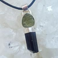 Black Tourmaline with Moldavite Pendant #P31