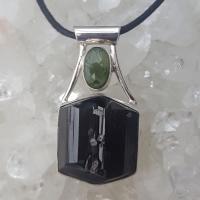 Black Tourmaline with Moldavite Pendant #P30