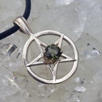 Moldavite Pentagram Pendant in Sterling Silver
