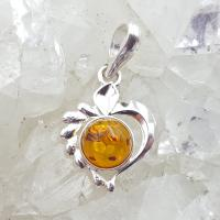 Amber Art Heart Pendant in Sterling Silver
