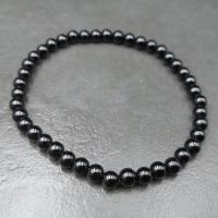 Black Tourmaline 4mm Round Bead Bracelet