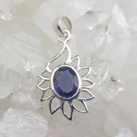 Blue Iolite Lotus Pendant