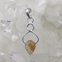 Rutilated Quartz Tear Drop Twist Pendant