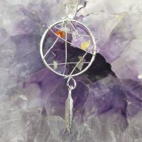 Chakra Dream Catcher Pendant with Feather