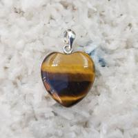 Tiger Eye Flat Heart Pendant