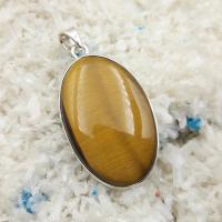 Gold Tiger Eye Oval Pendant No10