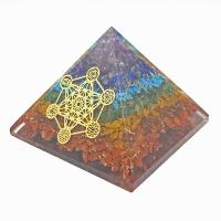 Chakra Crystal Orgone Organite Pyramid with Metatron 85mm