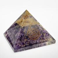 Amethyst Orgone Organite Pyramid 70mm wide