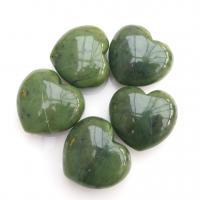 Green Nephrite jade Puff Hearts 40mm