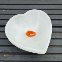Selenite Heart Crystal Gem Bowl 10cm wide