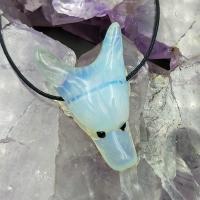 Opalite Wolf Head Pendant